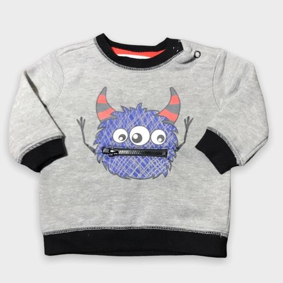 4/$20🥳 Light Gray Monster Print Crewneck